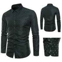 camisa longa verde escura da luva venda por atacado-2019 Outono Dos Homens Novos Slim Fit Camisa Impresso escuro verde Ponto Dot Impressão Masculina Camisa de Manga Longa Plus Size M-5XL