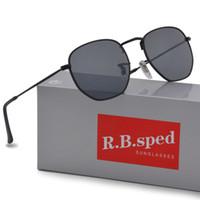 sonnenbrille frauen braun großhandel-Markendesigner Geometrie Sonnenbrille Damen Herren uv400 Objektiv Sonnenbrille Herren Legierung Gestell Brille Oculos De Sol mit braunen Etuis und Box