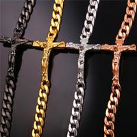 placas de fé venda por atacado-U7 Crucifixo Cruz Pingente de Colar Pulseira de Ouro / Preto Gun Banhado / Aço Inoxidável Moda Jóias Religiosas para As Mulheres / Homens Colar de Fé