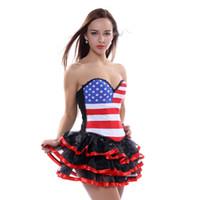 ingrosso formatori americani di bandiera-Plus Size 3XL American Flag Corsetti Moda USA Bustiers Super Size 4XL Lace Up Vita classica Sneakers Hip Hop Donna Overbust Corsetti