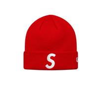 голубая красная шапочка оптовых-SUP Hat Beanie 17FW Hat sup cap черный красный синий cap для мужчин и женщин зимняя спортивная шляпа для sking