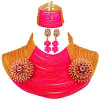 индийские ювелирные наборы для продажи оптовых-25 Layers Gold Fuchsia Pink African  Jewelry Set 25R17