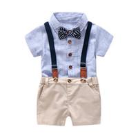 bebê macacão terno branco romper venda por atacado-Azul e Branco Listrado Romper Roupas Set Para O Bebê Menino Terno de Verão Com Arco Criança Criança Bodysuit Set Infantil Roupas Menino
