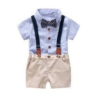 traje de mameluco blanco de bebés al por mayor-Conjunto de ropa de mameluco a rayas azules y blancas para bebé Niño Traje de verano con lazo Niño Niño Conjunto de traje Ropa de niño pequeño