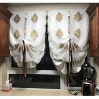ingrosso porte finestre in stile europeo-Golden Wonder Tende a palloncino stile europeo Tulle Stoffa per mantovana Cucina Tenda per porte Decorazione per finestre Colore bianco