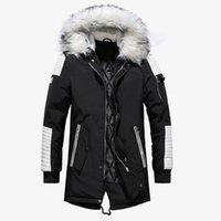 парковая куртка мужская чёрная оптовых-2018 зимняя куртка мужская меховой воротник с капюшоном негабаритных черные длинные парки пальто Pu сгущает ветрозащитные теплые куртки верхняя одежда