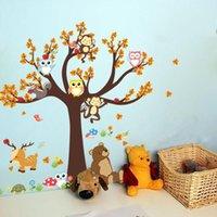 affe kinder dekor groihandel-Cartoon Waldtiere-Wand-Aufkleber-nette Eulen-Affe Bär Baum-Aufkleber für Kinder DIY-Wand-Aufkleber-Kind-Raum-Dekoration Wohnkultur