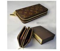 Wholesale boys long wallet resale online - Brand New Men Business black Clutch Wallets long wallet Organizer Zipper coin card holder genuine leather wallet XXL louis vuitton