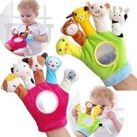 çocuklar parmak kuklaları toptan satış-Karikatür Hayvan Kuklaları Set Mini Peluş Oyuncak Biyolojik Çocuk Bebek Bebek Çocuk Eğitim El Parmakları Oyuncak