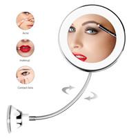 saugspiegel großhandel-LED Kosmetikspiegel 360 Grad Drehung 10x 5x Vergrößerungs Bad Kosmetikspiegel mit Saugnapf HHA541