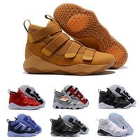 mejores botas de carrera al por mayor-2019 nuevo James Soldier XI 11 Azul marino, zapatos de baloncesto LeBron Negro, blanco, zapatillas deportivas, tamaño US 7-12
