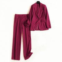 женская прямая куртка оптовых-Set female pants suit fashion small suit 2019 spring and autumn solid color long-sleeved jacket straight trousers two-piece