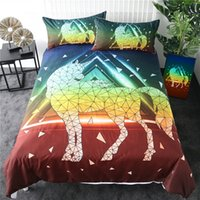 Wholesale rainbow bedding sets for sale - Group buy Geometric Unicorn Bedding Set Queen Rainbow Colors Duvet Cover Stylish Home Textiles Red Green Bedclothes