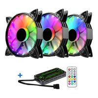 ventilador de cpu cooler led venda por atacado-12 centímetros Durable Cooling Fan Set Com Controlador endereçável CPU Controle remoto sem fio Para os casos de PC Computer Accessories LED RGB