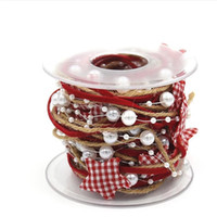ingrosso nastri di natale-Christmas Decoration Chain Ribbon Albero di Natale DIY Star Merry Christmas Party Decoration Forniture Happy New Year 2020