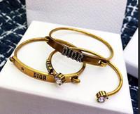 cadre en or blanc pour diamant achat en gros de-Bracelet matériel punk en laiton avec diamant blanc et étoile et conception de mots de 3pcs dans un ensemble de bijoux de mariage pour femmes PS5399A-20