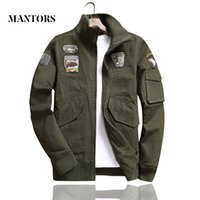 случайные военные мужчины куртки оптовых-Men  Bomber Jackets 2019 New Mens Casual Solid Zipper Loose Pilot Jacket Spring Autumn Male Stand Collar Embroidery Coat