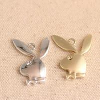 charme d'oreille de lapin achat en gros de-100pcs / lot Playboy Charme Argent Or Lapin Oreilles De Lapin Charme Charm Pendentif Bijoux Adultes DIY Charm Bracelet
