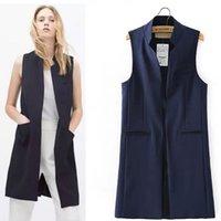 mulheres mandarin colar terno venda por atacado-Abra Frente longo Vest Mandarin Collar Colete Cardigan Blazer mangas Jacket Outfit das mulheres Women Long Business Suit Vest