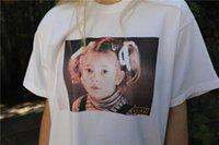 hip hop şortlu gömlek kızları toptan satış-Streetwear Hip hop Moda Drewhouse Barrymore'un küçük kız Bieber Tee Tops kısa kollu Vintage tişört yazdır çekti