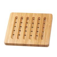 китайские кухонные украшения оптовых-Heat Insulation Table Cup Coasters Solid Decoration Durable Kitchen Accessories Pot Holder Easy Clean Home Bamboo Pads Placemat