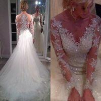 düğün dantel bling elbiseler uzun trenler toptan satış-2019 Çarpıcı Sheer Illusion Uzun Kollu Gelinlik ile Ayrılabilir Tren Bling Payetli Dantel Aplike Overskirt Tül Gelinlikler