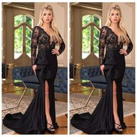 Wholesale gold special occasion dresses for sale - 2019 V Neck Lace Long Sleeves Slim Mermaid Prom Dresses Split Sweep Train Long Special Occasion Party Gowns Evening Party Gowns Cheap