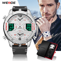drei mode groihandel-WEIDE Mens Fashion Sport-beiläufige Drei Zeitzone Quarz Analog-Digital-Datum Uhr Lederband Military Watch Relogio Masculino