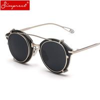Wholesale punk sunglasses resale online - SIMPRECT Steampunk Sunglasses Men Women Round Detachable Retro Black Metal Sun Glasses Vintage Steam Punk Sunglass YJ1038