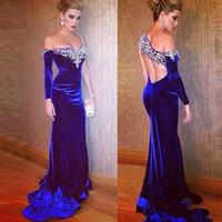 Wholesale velvet open back prom dress resale online - 2019 Royal Blue Velvet Prom Dresses Mermaid One Shoulder Long Sleeves Open Back With Beads Sexy Arabic Formal celebrity Evening Party Gowns
