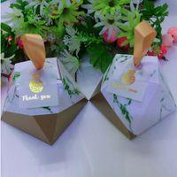 cajas de bomboniere bebé al por mayor-Nueva forma de diamante Cajas de caramelo de mármol con etiquetas de piña Favores de bodas Fiesta de cumpleaños de cumpleaños Suministros Bomboniere gracias Caja de regalo