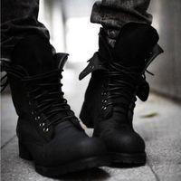kampf schuhe mode großhandel-Fashion New Autumn Mens Martin Stiefel Wildleder Stiefel mit Cashmere Slip Schuhe Casual Solid Black Knight Combat