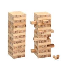 juego de madera jenga al por mayor-Domino 51 piezas Madera dura Color original Bloque de madera Kids Jenga Game Stack Early Head Start Training Kids Toy