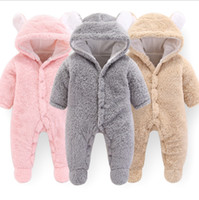 Wholesale toddler girl cute clothing for sale - Group buy Designer Baby Clothes Solid Baby Girls Hooded Rompers Warm Infant Boy Jumpsuits Cute Toddler Outwear Christmas Baby Clothing DW4158