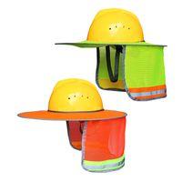 schild hut großhandel-Outdoor-Konstruktion Sicherheit Schutzhelm Gelb Orange Sonnenschutz Hüte Nackenschutz Reflektierende Streifen Schutzhelme Caps neue GGA2566