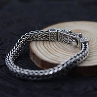 Wholesale bracelets made china resale online - S925 sterling silver body keel to make old flat chain Thai silver woven men s domineering personality bracelet retro style KKA4775