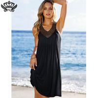 ropa de diamante azul al por mayor-2018 Summer Beach Cotton Clothes Women Sexy Evening Party Boho Dress V Neck Backless Sleeveless Diamond Dress Women Vintage Blue Y19070901