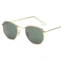 pembe reçine toptan satış-3548 Altıgen 51mm Metal marka güneş gözlüğü düz Reçine lensler paketleri ile mevcut 10 renkler her şey pembe cıva gümüş yeşil