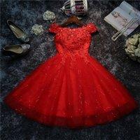kısa dantel gala elbisesi toptan satış-Omuz Abiye Lace Up Kısa Kırmızı / Sequins Boncuk Aplikler Vestido De Gala Beyaz Gelinlik Modelleri Kapalı Seksi