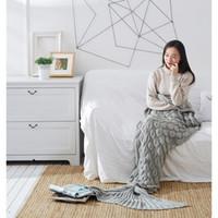 осеннее одеяло оптовых-Пряжа трикотажные Русалка хвост одеяло милый портативный Русалка Одеяло для весна осень дети взрослые серый цвет обложка одеяла XF520