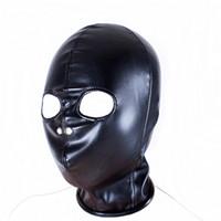 esaret yatak takımı toptan satış-Sıcak Yumuşak PVC esaret Maske açık ağız göz Başlık Yetişkin yatak oyunu seti 0286