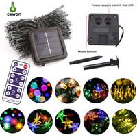 leuchtet kugel großhandel-Verbesserte Solar-Lichterkette für den Außenbereich 13 Modellierungsdekoration LED-Lichterkette 60 LEDs 100 LEDs Ball Fairy-Lichterkette mit Fernbedienung