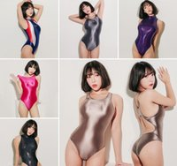 kadın tek parça bodysuit toptan satış-Moda-Leohex Seksi Saten Parlak Vücut Suit Yüksek Cut One Piece Mayo Kadınlar Glitter Bodysuit Parlak Yıkanma Suits Kadın Mayo Q190513