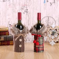 Wholesale clothing for wine bottles resale online - Christmas Decoration Wine Cover With Bow Plaid Linen Bottle Clothes With Fluff Creative Wine Bottle Cover For Party Festival HH9