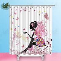 tejido de mariposa de dibujos animados al por mayor-Vixm Cartoon Beautiful Girl Flower Butterfly Shower Curtains Pink estilo rústico impermeable tela de poliéster cortinas para la decoración casera