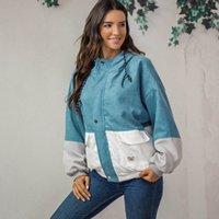 calções de patchwork de veludo venda por atacado-2019 Outono Inverno das mulheres Casuais top de manga longa Corduroy costura com capuz bolso zip curto casaco quente L0812