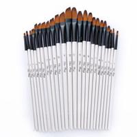 ingrosso penne per pitture a olio-Set di pennelli per artista Set per pittura acrilica ad olio per acquerelli Set di pennelli per pittura per modellismo artistico a colori 12 pezzi / set
