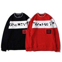 beyzbol gömlek uzun kollu toptan satış-Tasarımcı Kazak Moda Casual Uzun Kollu Marka Beyzbol Bluz Bayan Mens Mektubu Baskı Siyah Kırmızı M-2XL Ter Gömlek B100257V
