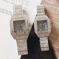 Wholesale roman watch for men resale online - Luxury Lovers Square Wristwatches with full diamond Men Women designer watches Couples Full Iced out watch for Roman number hour mark gift