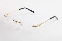 benzersiz erkekler gözlük toptan satış-Moda Carter Güneş Manda Boynuzu Gözlük Erkekler için Benzersiz Lüks Çerçevesiz Tarzı Tasarımcı Altın Gümüş Çerçeveleri metal Güneş